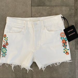 NEW Mother the Dutchie white cut off shorts 27